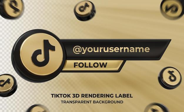 Профиль значка баннера на tiktok 3d-рендеринг этикетке изолированные