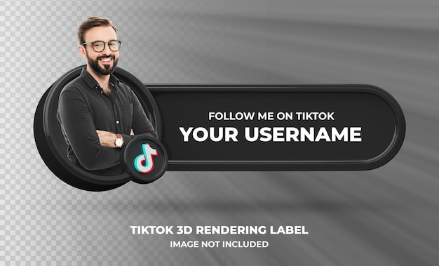 Tiktok 3d 렌더링 레이블 절연에 배너 아이콘 프로필