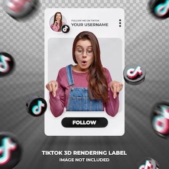 Tiktok 3d 렌더링 레이블 템플릿의 배너 아이콘 프로필