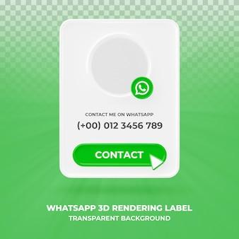 Профиль значка баннера на whatsapp 3d визуализации баннера изолированные
