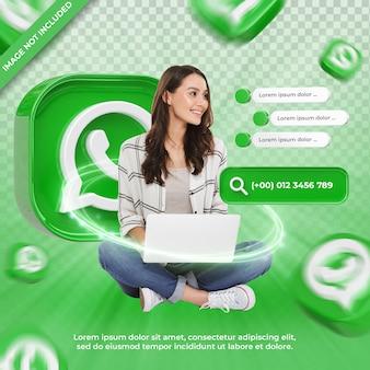 Whatsapp 3d 렌더링 레이블에 배너 아이콘 프로필 절연
