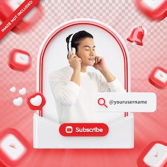 Youtube 3d 렌더링 레이블에 배너 아이콘 프로필 절연