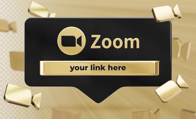 Профиль значок баннера на zoom 3d-рендеринга этикетки изолированные