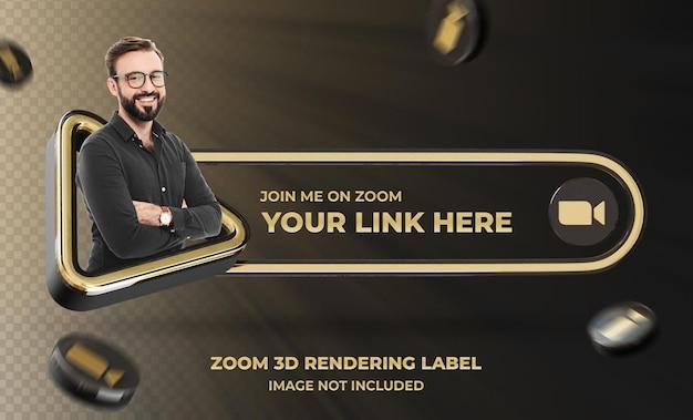 Профиль значка баннера на 3d-рендеринге zoom label mockup