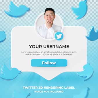Banner icon profile on twitter 3d rendering label isolated