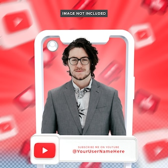 Banner icon profile on youtube 3d rendering frame