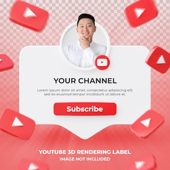 Banner icon profile on youtube 3d rendering label isolated