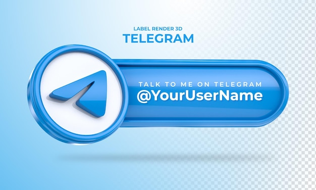Banner icon telegram talk to me label 3d render isolated