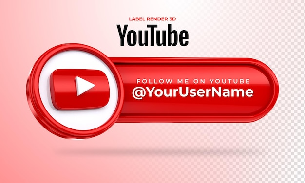 Banner icon youtube follow me label 3d render isolated