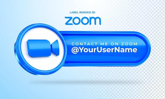 Banner icon zoom contact me label 3d render isolated