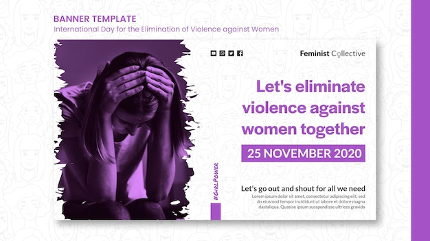 Banner for international day for the elimination of violence against women