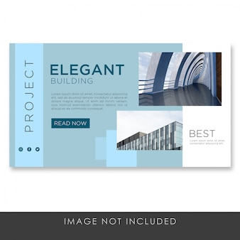 Banner landing page architecture blue modern template