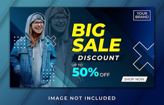 Banner landing page big sale blue