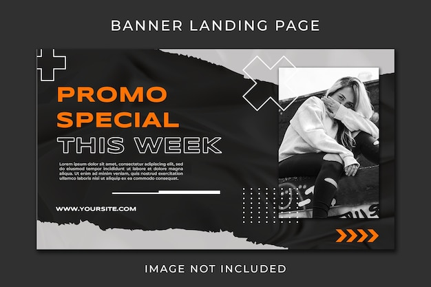 Banner landing page fashion promo template
