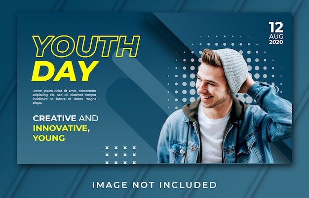 Banner landing page youth day modern