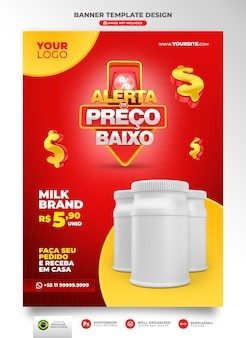 ポルトガル語の3dレンダリングでブラジルのテンプレートデザインのマーケティングキャンペーンのバナー低価格アラート