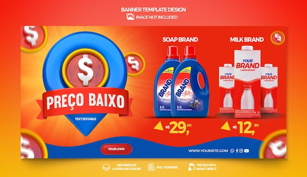 Banner low price with pin in brazil 3d render template design in portuguese