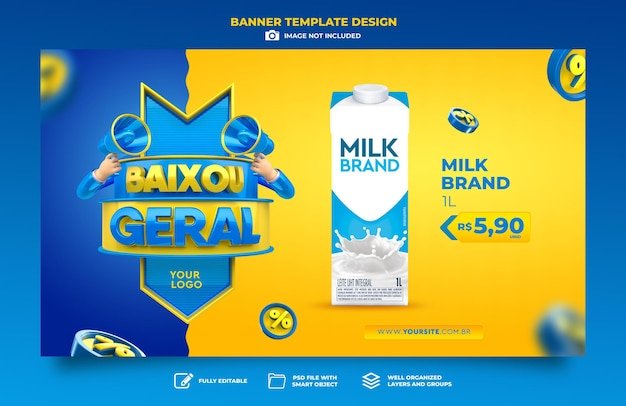 Banner marketing in brazil low price 3d render template design