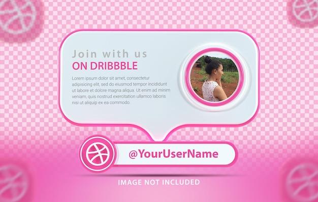 Профиль макета баннера со значком dribbble 3d rende
