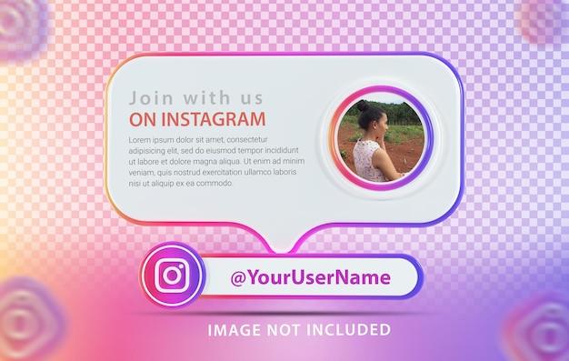Профиль макета баннера с иконкой instagram 3d render