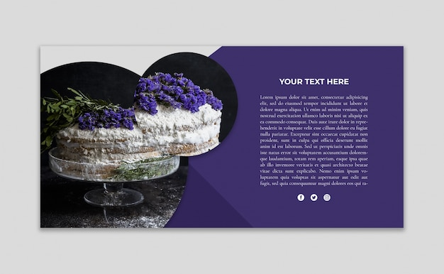 Banner mockup with image of cake