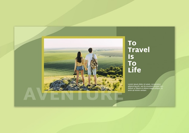 Banner mockup with image and travel concept
