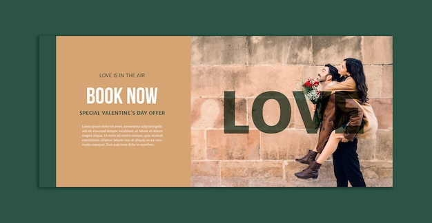 Banner mockup with image for valentines day