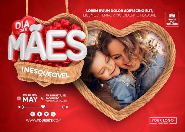 Banner mothers day in brazil with baskets and hearts 3d render