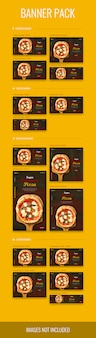Banner pack in different sizes with pizza theme, psd file