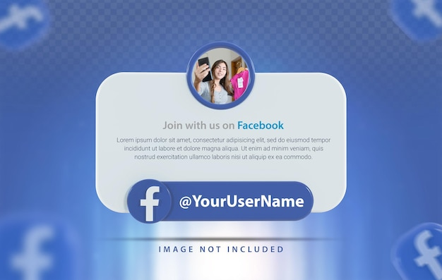 Профиль баннера со значком facebook 3d визуализации