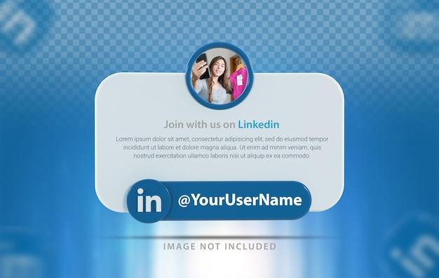 Linkedin 아이콘이 있는 배너 프로필 3d 렌더링