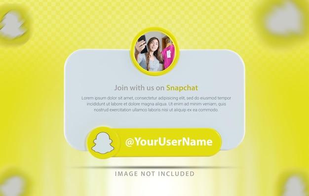 Профиль баннера со значком snapchat 3d визуализации