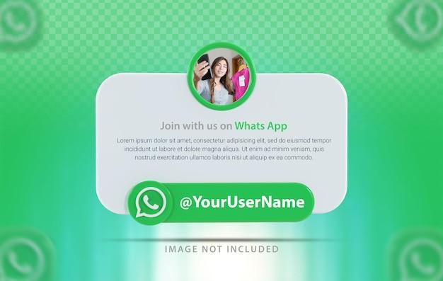 Whatsapp 아이콘이 있는 배너 프로필 3d 렌더링