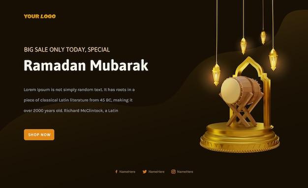Banner ramadan kareem with islamic podium 3d render