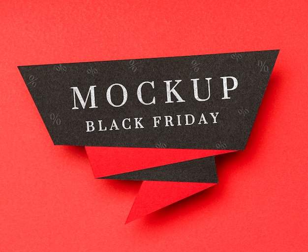 Banner on red background black friday sales mock-up