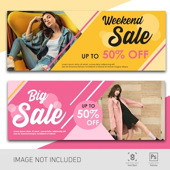 Banner sale pink and yellow template