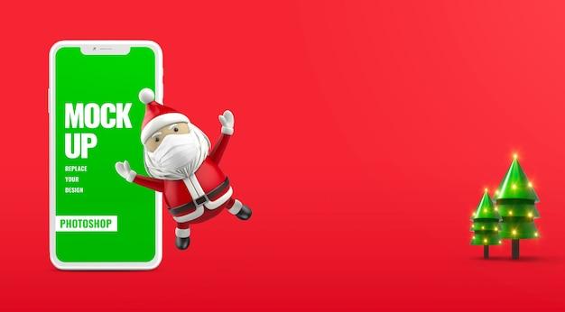 Баннер санта merry christmas реклама мобильный