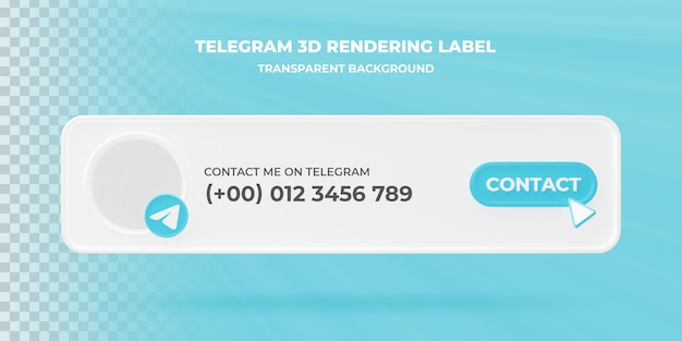 Значок поиска баннера telegram 3d-рендеринга баннера изолированные