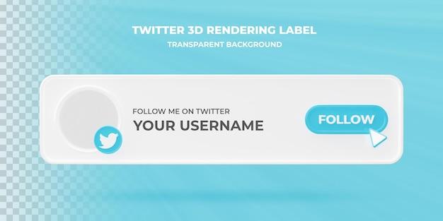 Значок поиска баннера twitter 3d визуализации баннера изолированные