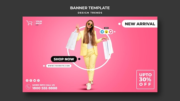 Banner shopping woman template
