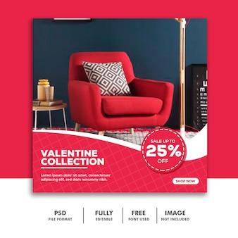 Banner social media post instagram, pink furniture