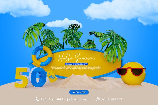 Banner special summer sale discount promotion and social media post template