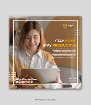 Banner or square flyer with virus prevention theme for social media post template