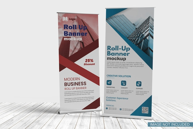 Banner stand mockup isolated