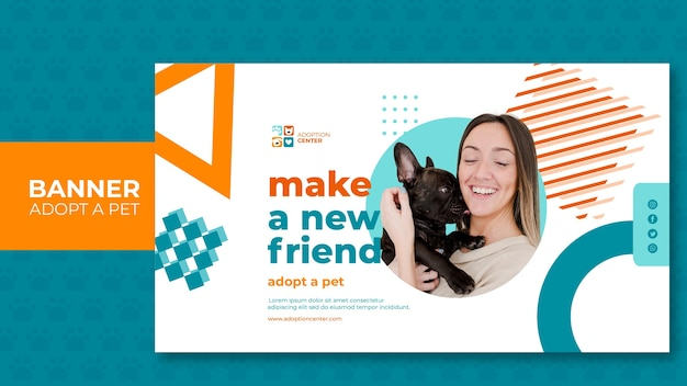 배너 스타일은 애완 동물을 채택 무료 PSD 파일