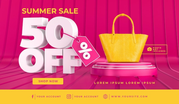 Banner summer sale 50 off template design 3d render