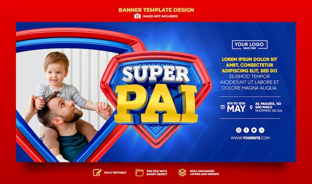 Banner super dad in brazil 3d render template design in portuguese happy fathers day