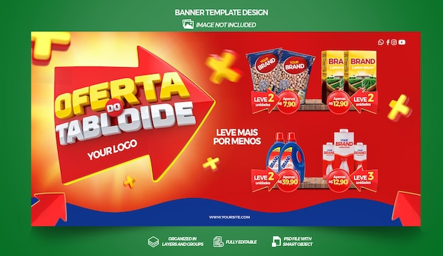 Banner tabloid offers in brazil 3d render template design in portuguese