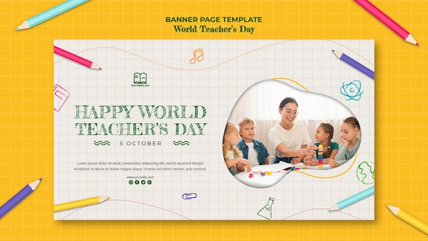 Banner teacher's day template
