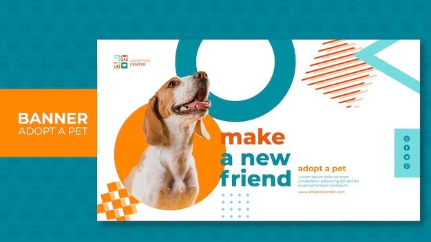 배너 템플릿은 애완 동물을 채택 무료 PSD 파일